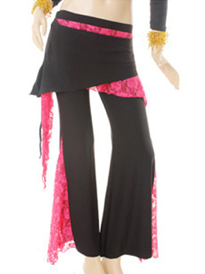 Attractive Black Intermingle Yarn Lace Belly Dance Pants