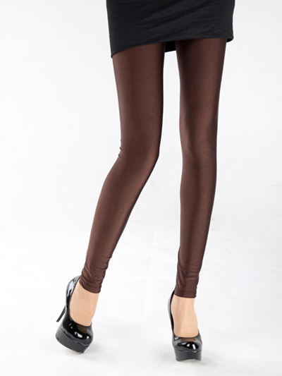 Glittery Coffee Nylon Yarn Womens Fluorescent Leggings фото