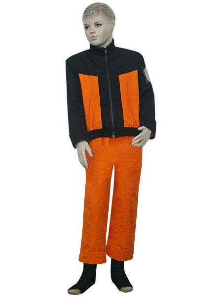 Black And Orange Uniform Cloth Naruto Shippuden Uzumaki Naruto Kids Cosplay Costume