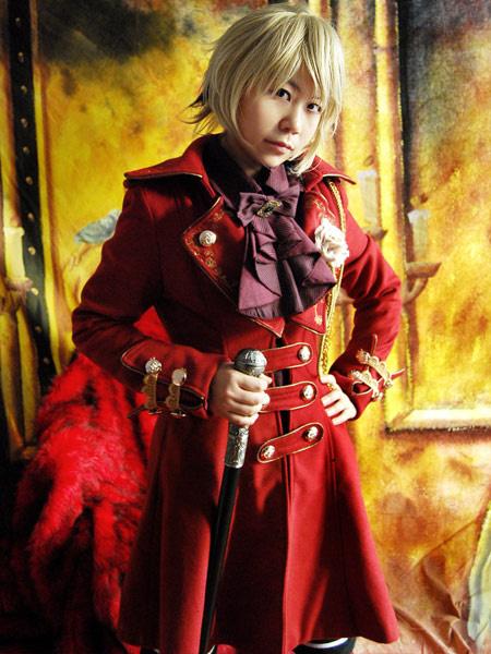 Купить со скидкой Klassischer Lolita Mantel aus Wolle mit golden Knöpfen in Rot