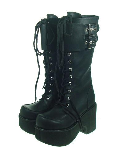 Сказочные черный PU кожаный круглый носок высокое небо(> 4) Лолита сапоги