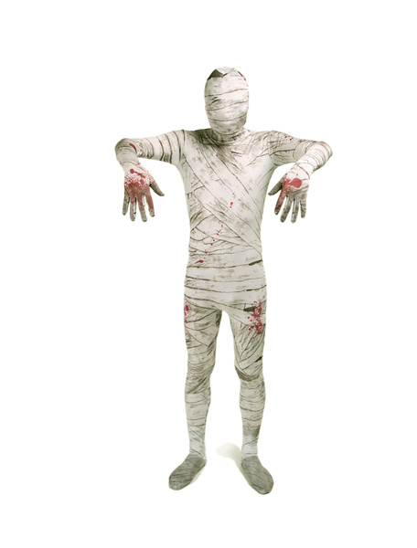 Mummy Zentai Suit Dying Spandex White Full Bodysuit Costume фото