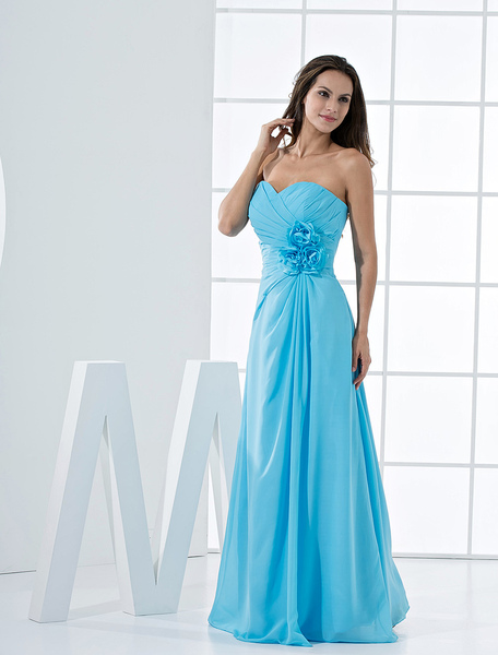 Strapless Bridesmaid Dress Aqua Sweetheart Lace Up Flower Chiffon Maxi Prom Dress