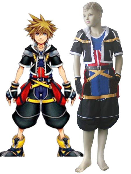 Black Red White Blue Yellow Uniform Cloth Kingdom Hearts 2 Sora Kids Cosplay Costume фото