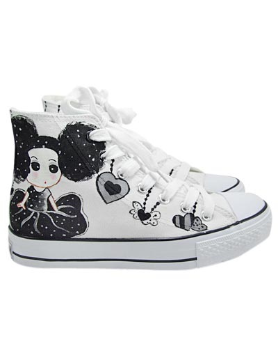 Popular Black Canvas Rubber Sole Flat Ankle Painted Shoes For Women