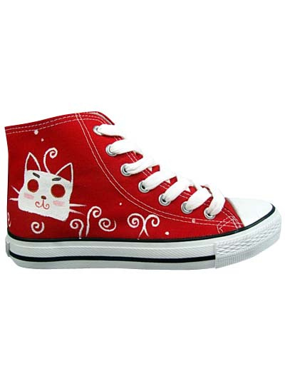 Popular Red Canvas Rubber Sole Flat Ankle Painted Shoes For Women