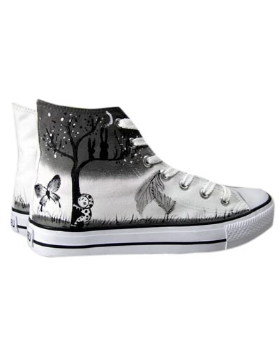 Sweet White Canvas Rubber Lace-Up Womens Painted Shoes