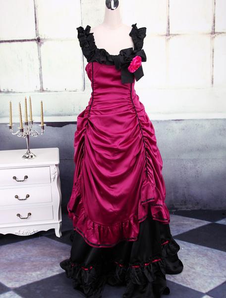 Aristocrat Lolita Red Victorian Renaissance Satin Long Dress фото