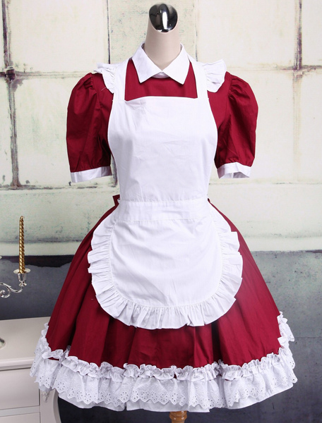 Cotton Dark Red And White Cosplay Lolita Dress With Apron фото