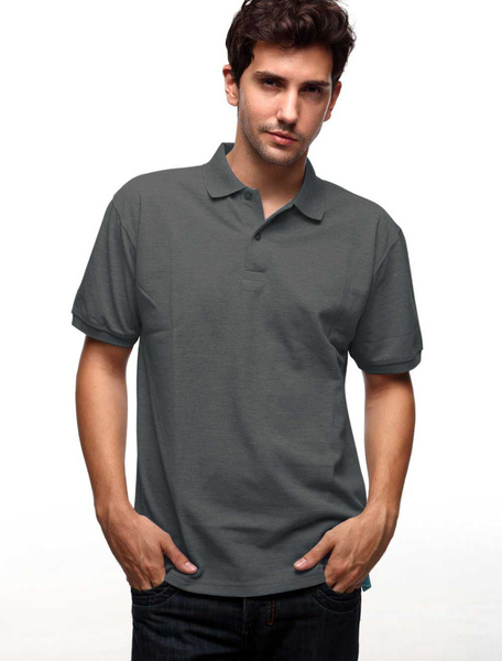 Dark Gray 60% Cotton 40% Polyester Short Sleeves Mens Polo Shirt