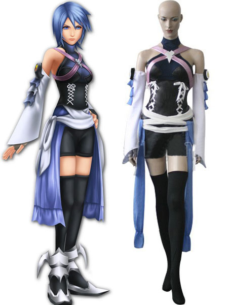 Kingdom Hearts Black And Blue Satin Spandex Leather Cosplay Costume