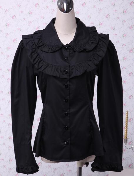 Black Cotton Lolita Blouse Long Sleeves Ruffles Turn-down Collar фото
