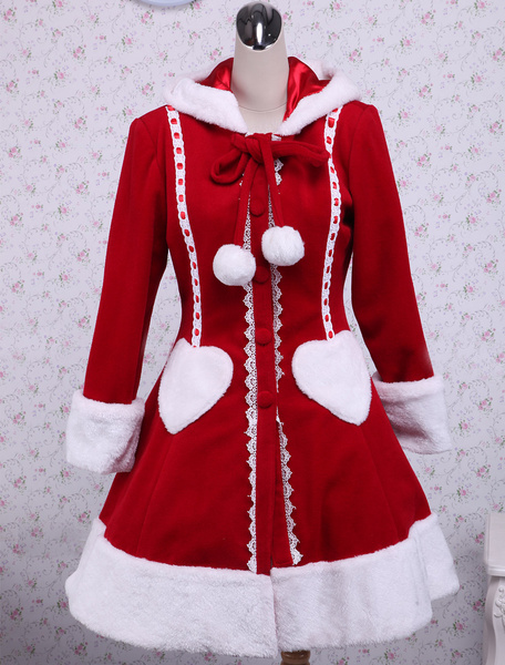 Sweet Red Long Sleeves Wool Lolita Overcoat With Hood