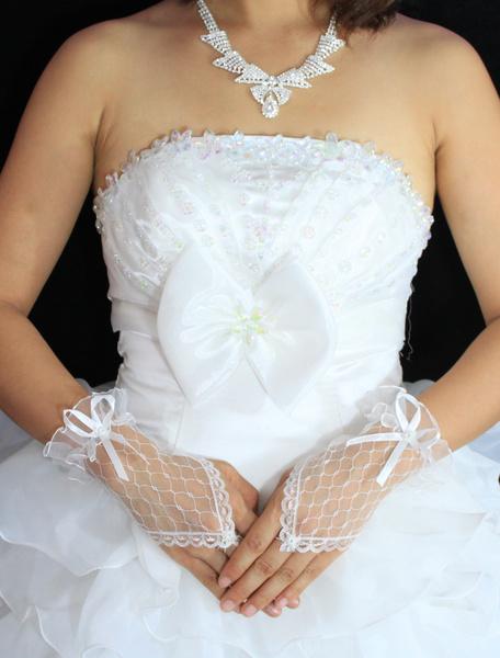 Sheer Короткие Свадебные Перчатки