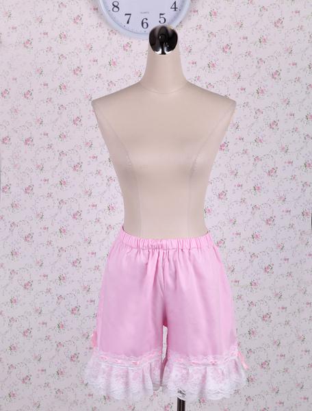 Cotton Pink Lolita Bloomers Shirring Lace Trim Milanoo
