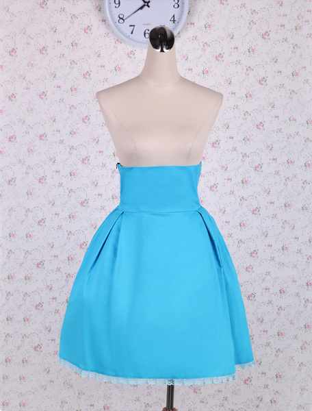 Simple Light Blue Pleated Cotton Lolita Skirt фото