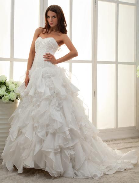 White Sweetheart Strapless A-line Beading Bridal Wedding Dress фото
