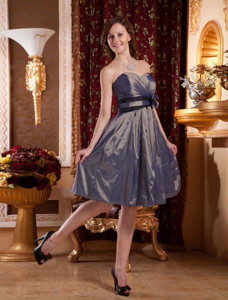 Taffeta Strapless Knee Length Maternity Cocktail Dress