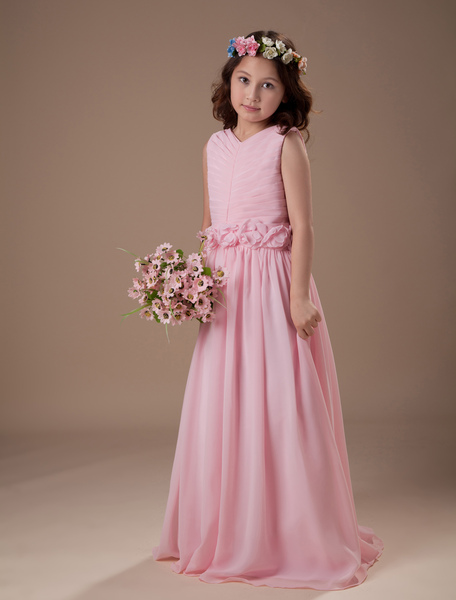 Beautiful Pink Sleeveless V-Neck Satin Chiffon Flower Girl Dress фото