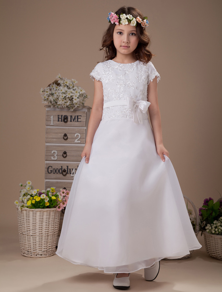Sweet A-line White Satin Ankle-Length First Communion Dress фото