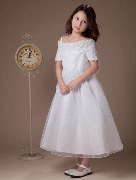 Sweet A-line White Satin Tea-Length First Communion Dresses фото