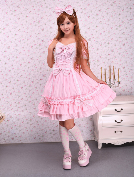 Sweet Pink Lotila OP Dress and Cape with Bows and Ruffles фото