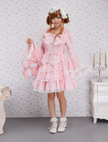 Light Sweet Classic Bow Lace Ruffles Cotton Lolita Dress