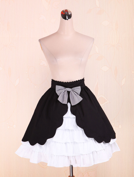 Cotton Black and White Lolita Skirt Multi-layer Sweet Bow фото