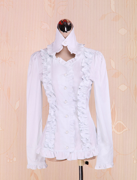 Cotton White Ruffles Lolita Blouse фото