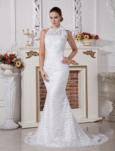 Grand White A-line Halter Pleated Sweep Satin Lace Wedding Dress