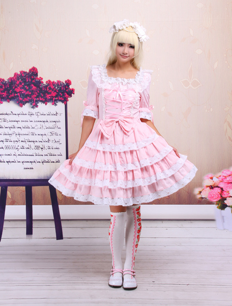 Sweet Pink Lolita OP Dress Middle Sleeves with Lace Trim фото