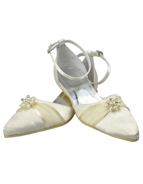 Fabulous Satin Flat Womens Wedding Shoes, Ivory