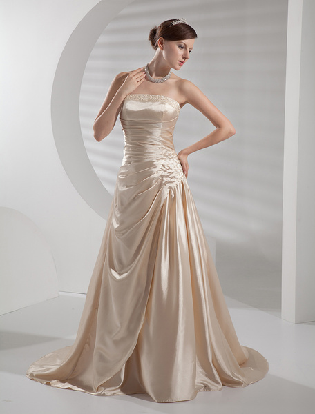 Champagne Wedding Dress Strapless Backless Ruched Satin Wedding Gown фото