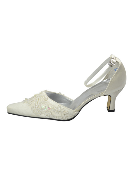Ivory Satin Paillette Lace Pumps