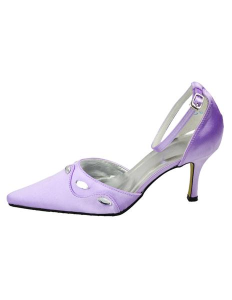 Purple Satin Paillette Wedding Pumps