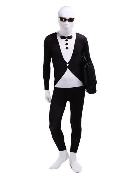 Black White Gangster Leotard Bodysuit Full Body Lycra Spandex Zentai Suit фото