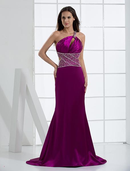 Magenta Evening Dress One Shoulder Beading Floor Length Cutout Satin Mermaid Prom Dress With Train