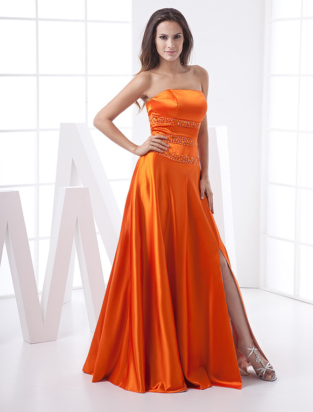 Orange Strapless Satin Prom Gown