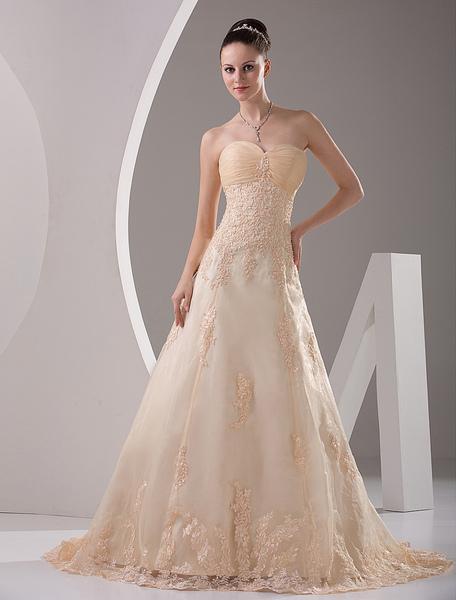 Milanoo Robe de mariée en satin avec applique de dentelle - milanoo.com - Modalova