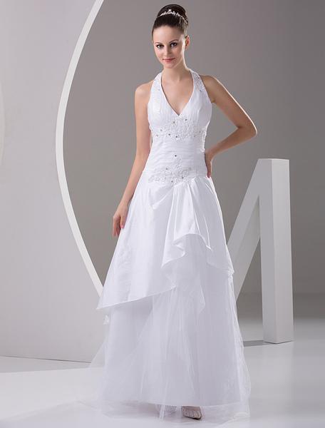 Milanoo Chic robe mariage A-ligne en taffetas avec applique col V longueur plancher - milanoo.com - Modalova