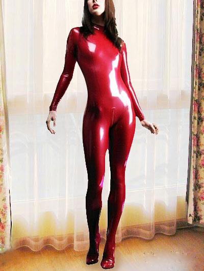 Хэллоуин Сексуальный Красный Латекс Комбинезон Женщина-Кошка Косплей Костюм