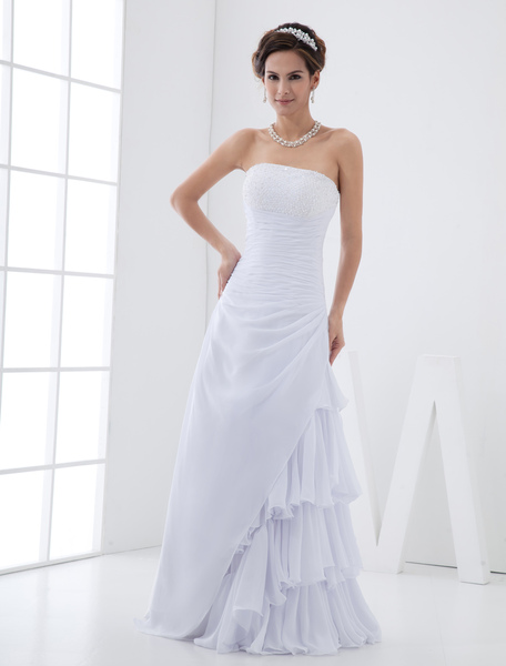 White Wedding Dress Chiffon Strapless Bridal Gown A Line Tiered Side Draped Floor Length Bridal Dres
