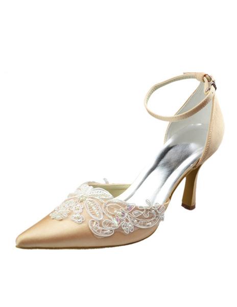 3 1/2'' High Heel Champagne Lace Applique Satin Platform Wedding Shoes