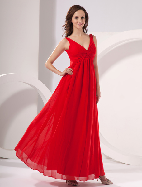 Chiffon V-neck Floor Length Maternity Evening Dress