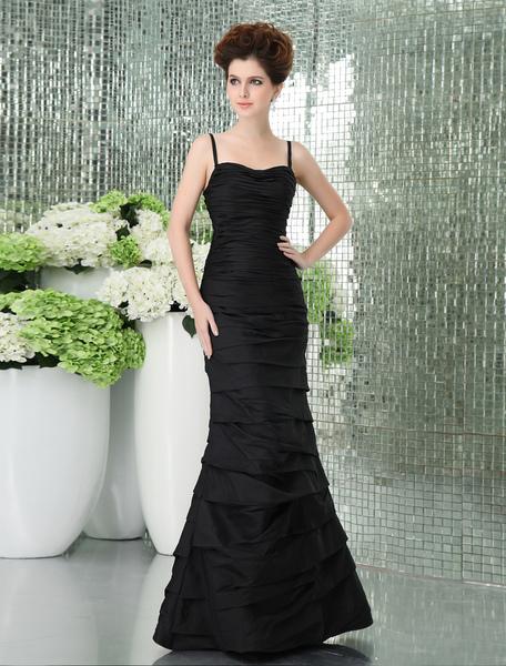 Slim Black Taffeta Floor Length Mermaid Trumpet Prom Dress фото