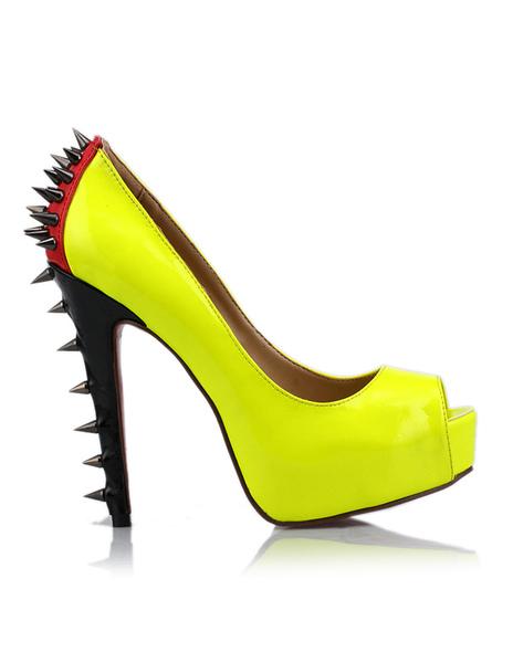 Chaussures à talons aigus sexy jaunes peep-toe en PU avec clou