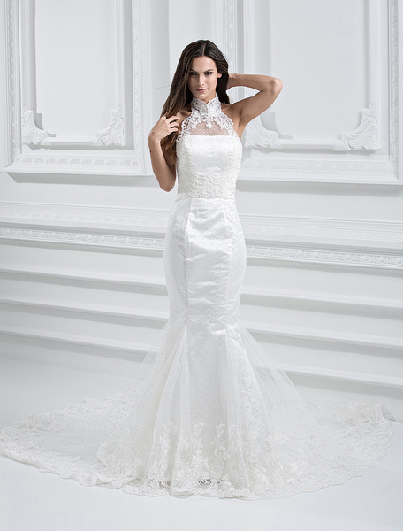 Элегантный Белый Чистый Без Бретелек Русалка Труба Свадебное Платье Колонка
