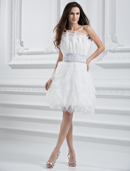 White Tulle Beautiful A-line Women Short Wedding Dress