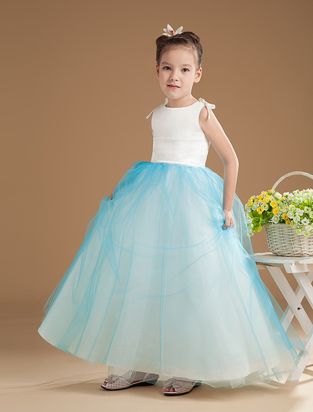 Flower Girl Dresses A Line Tulle Turquoise Sleeveless Bows Floor Length Kids Pageant Dress