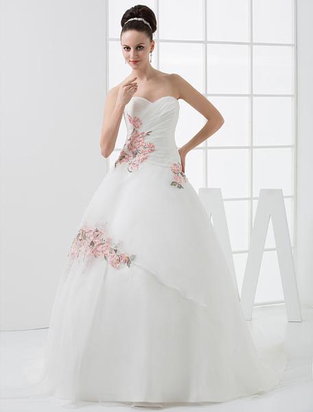 Milanoo Robe de mariée à cœur A-ligne de style Européen en satin avec broderie de perles - milanoo.com - Modalova